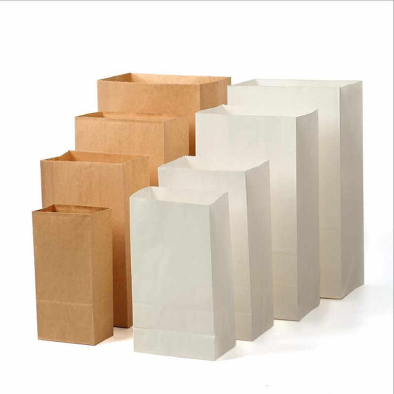 100Pcs Kraft Paper Bag Gift Bags Candy Cookie Bread Nuts Bag For Biscuits Baking Package Supplies