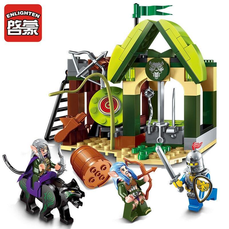 Просвещения Building Block войны of Glory замок рыцарей elfin диапазон 3 фигурки 112 шт. Развивающие игрушки Кирпичи мальчик подарок