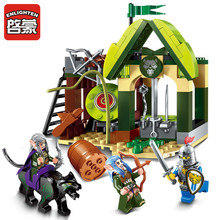 Просветите строительный блок Война за славу Замок рыцарей Elfin Range 3 Рисунки 112шт Обучающие игрушки для мальчиков игрушек