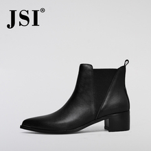 JSI Genuine Leather Ankle Boots Fashion Pointed Toe 5cm High Square Heels Shoes Woman Shoes Quality Handmade Chelsea Boots JOA11 czrbt retro style pointed toe genuine leather women ankle boots high heels 6 5cm patent leather deep color women casual shoes