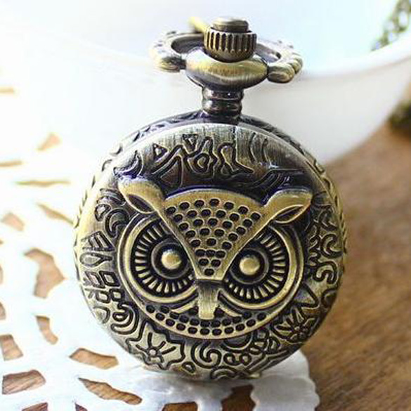 Unique Antique Fashion Alloy Vivid Owl Pocket Watch Pendent Necklace Chain Vintage Watch Active Clock  E2shopping TT@88