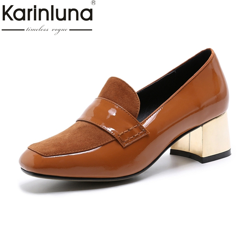 KARINLUNA 2017 Genuine Leather And Kid Suede Women Shoes Woman Vintage Square Toe Med Heels Date Pumps Lady Footwear qmn women crystal embellished natural suede brogue shoes women square toe platform oxfords shoes woman genuine leather flats