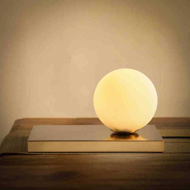 Modern LED Table Lamp Desk Bedside Lamp Light Shade Glass ...