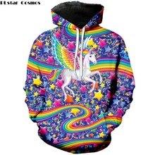 PLstar Cosmos 2018 New Fashion 3d Hoodie Lisa Frank Cartoon Rainbow unicorn horse Print Mens Womens Casual Hooded Sweatshirt