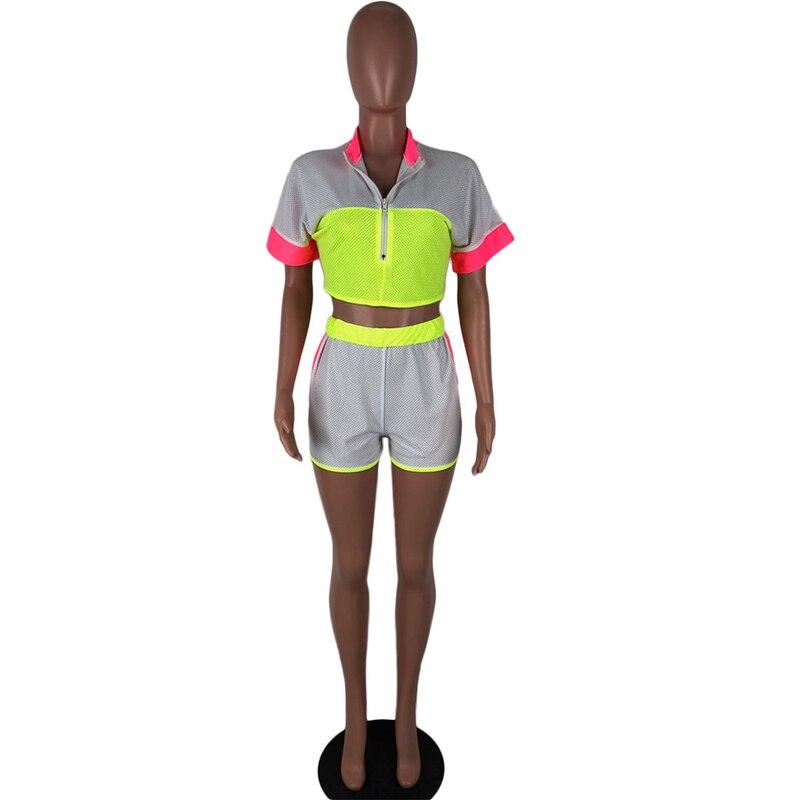 2 点セット女性の夏のスポーツウェア服タートルネッククロップトップ + バイカーパンツスーツ通気性ンツアウトフィットトラックスーツマッチングセット