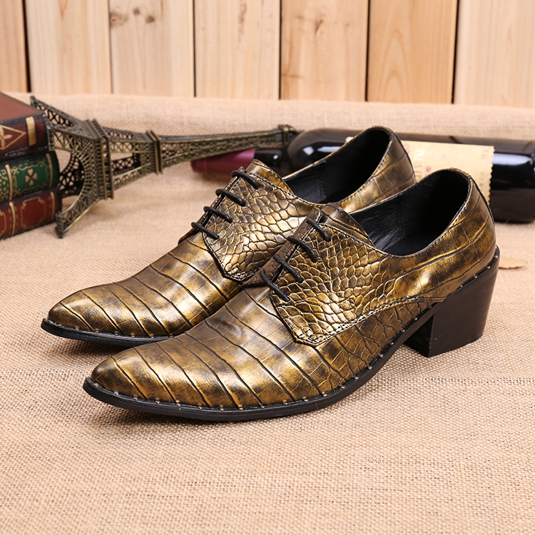 British Hair Stylist Lace Up Men Leather Shoes High Heels Embossed Leather Loafers Gold Dress Shoes Men Crocodile Skin Shoes Men's Shoes Formal Shoes