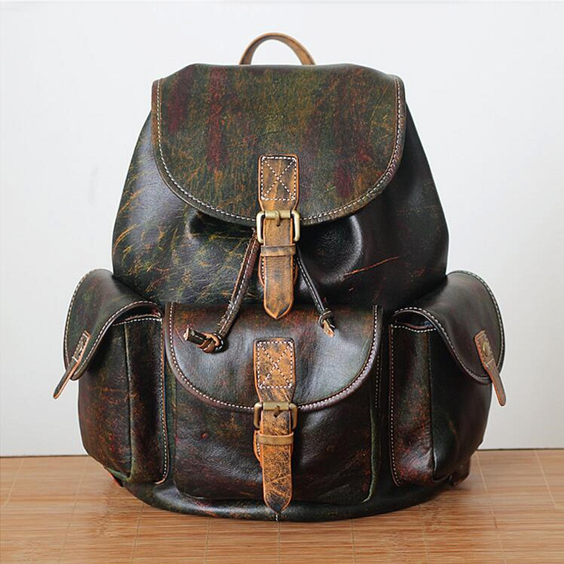 Unisex 100% Genuine Vegetable Tanned Leather Backpacks Genuine Leather School Backpack Male Fashion Travel Bags Vintage genuine leather