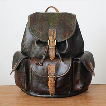 Unisex 100% Genuine Vegetable Tanned Leather Backpacks School Backpack Male Fashion Travel Bags Vintage