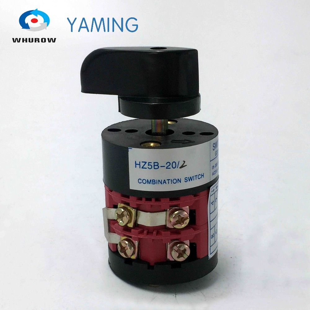 Yamin Electric 3 position HZ5B-20/2 Red combination changeover rotary Cam switch 20A 2 poles 8 terminals silver contactYamin Electric 3 position HZ5B-20/2 Red combination changeover rotary Cam switch 20A 2 poles 8 terminals silver contact