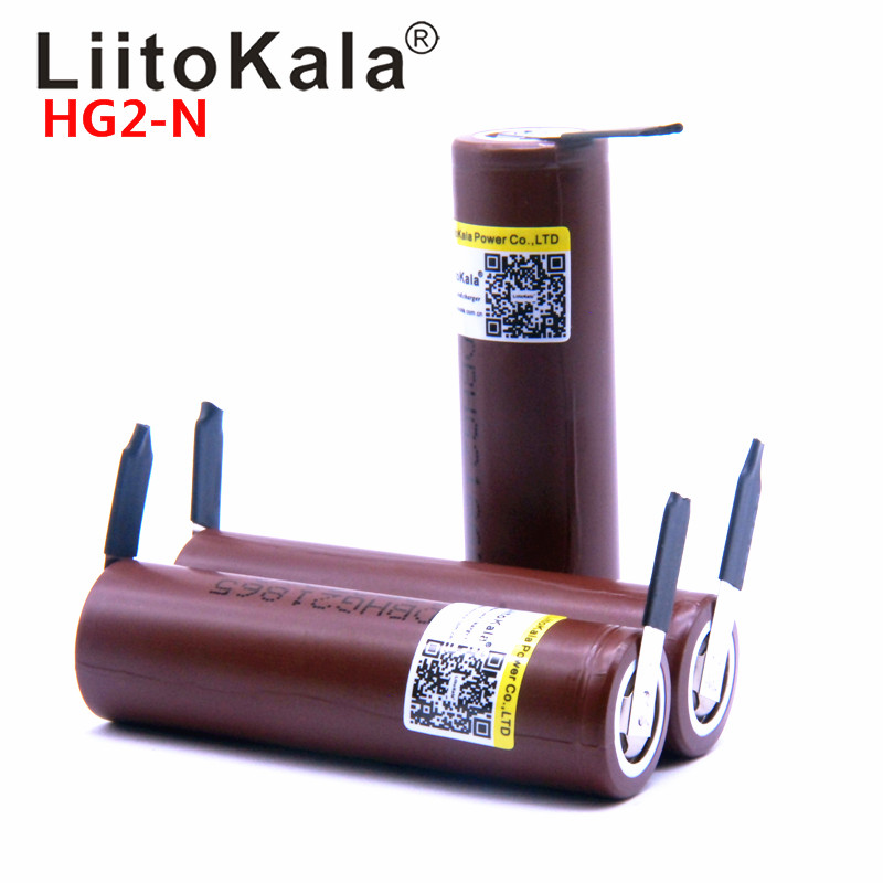 Bateria recarregável liitokala hg2, de alta potência, 18650, 3000mah, descarga, 30a corrente grande + diy nicke