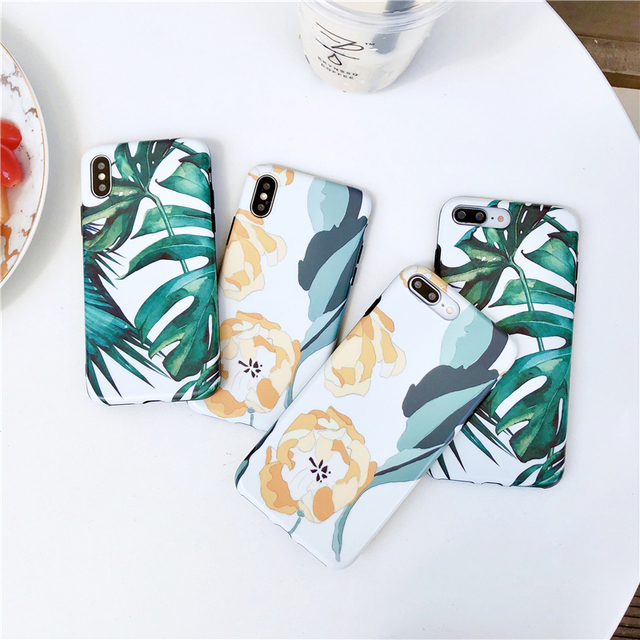 Art illustration Monstera Case for iPhone X case Xs Max cover iPhone Xr 6 6s plus 7 8 plus Yellow Floral Matte shell Insta style