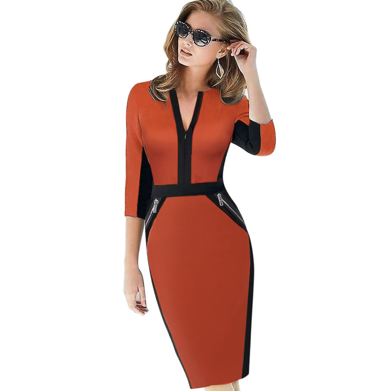 Plus Size Front Zipper Women Work Wear Elegante vestito elasticizzato Charming Bodycon Pencil Midi Spring Business Abiti casual 837