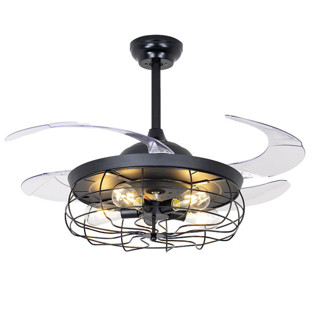 42inches Retro Ceiling Fan Light Restaurant Invisible Nordic Loft Pendant Living Room Lamps Remote Chandelier