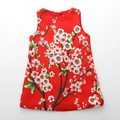 2017 Summer Girls Red Flower Printed Dress for Baby Girls New Floral Kids Dresses Party Clothing Baby Clothes Vestidos Meninas