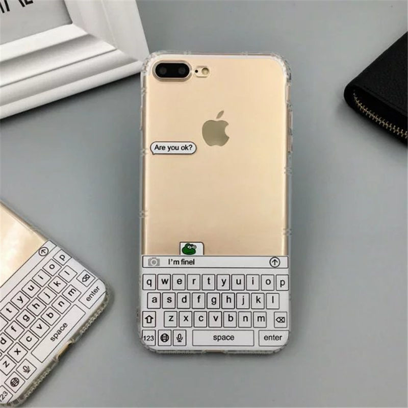 the best attitude 6c34b 07212 US $4.8 |New 3D Stereo Case Creative Keyboard Chat Record Back Cover for  iPhone 6 6s 6Plus 7 7Plus Shockproof Clear Phone Casing Instock-in Fitted  ...