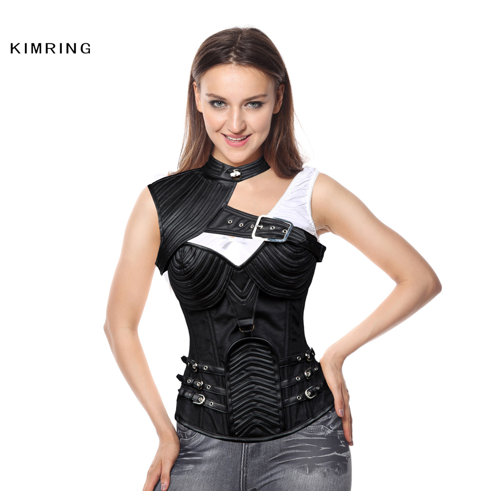 4a4fdc5a99 Kimring Vintage Gothic Corset Plus Size Black Armor Corset Burlesque Steampunk  Corset Steel Boned Bustiers Corselet Women-in Bustiers   Corsets from ...
