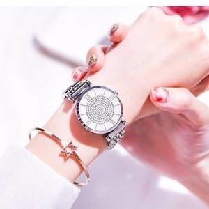 Image 5 - ホット販売女性ステンレス鋼完全なダイヤモンドの腕時計カジュアル高級レディースクォーツ時計 YOLAKO 時計レロジオ Feminino