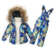 Nouveau 2017 garçons filles chaud manteau vêtements set blanc Naturel canard vers le bas les enfants veste de costume + bib bébé habit de neige pour 18 m-6 ans enfants