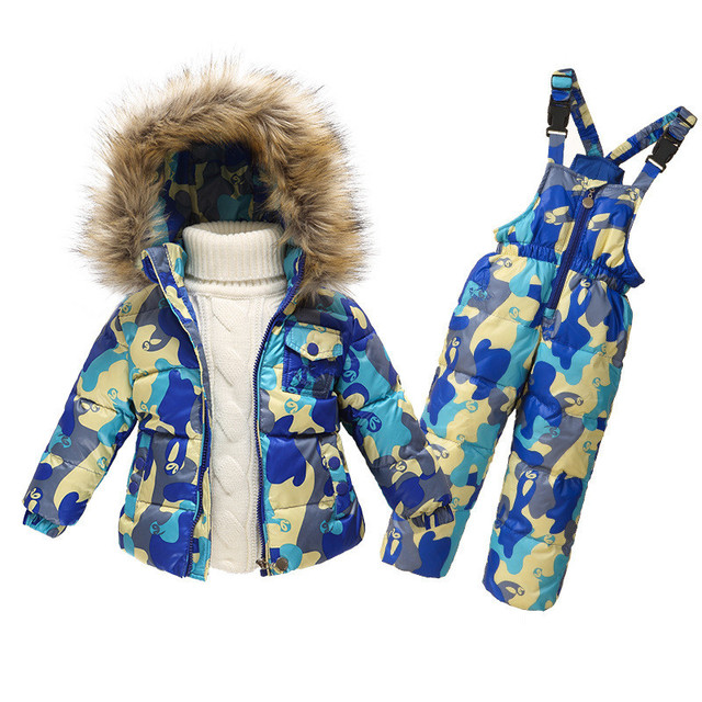 22d64f666 New 2017 boys girls warm coat clothing set Natural white duck down ...