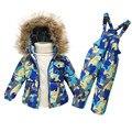 Nuevo 2017 niños niñas ropa de abrigo caliente conjunto pato blanco Natural abajo traje chaqueta de los niños + babero del bebé traje para la nieve para 18 m-6 años niños