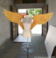 High quality gold angel feather wings beautiful birthday gifts DIY decoration props each wings 80cm EMS free shipping