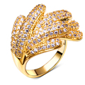 DC1989 Synthetic Cubic Zirconia Paved Deluxe Women Cocktail Ring Gold Rhodium Plated Lead Free Palm Looks Anniversary Wife Gift