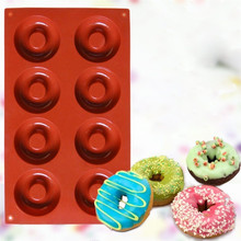 8 even donut silicone cake mold Silicone Donut Cupcake Mold Muffin Chocolate Cake Candy Cookie Baking Mould Pan