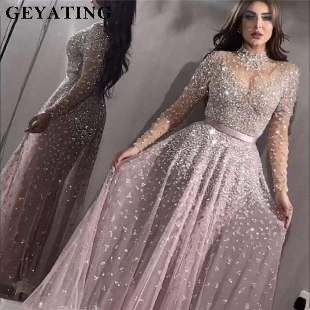 Роскошное вечернее платье с длинными рукавами 2020, расшитое бисером, с высоким воротником, женские платья для особых случаев, сексуальные прозрачные вечерние платья с круглым вырезом