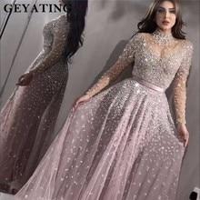 Luxe Lange Mouwen Avondjurk 2020 Crystal Kralen Hoge Hals Vrouwen Speciale Gelegenheid Jurken Sexy Sheer Hals Avondjurken