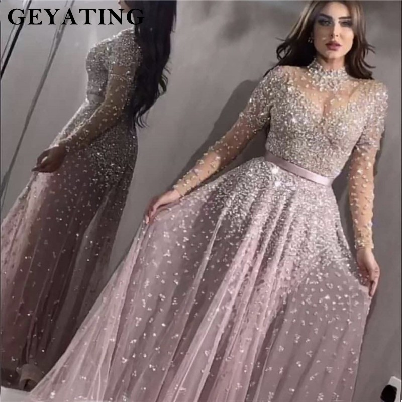 Luxury Long Sleeves   Evening     Dress   2019 Crystal Beaded High Neck Women Special Occasion   Dresses   Sexy Sheer Neck   Evening   Gowns