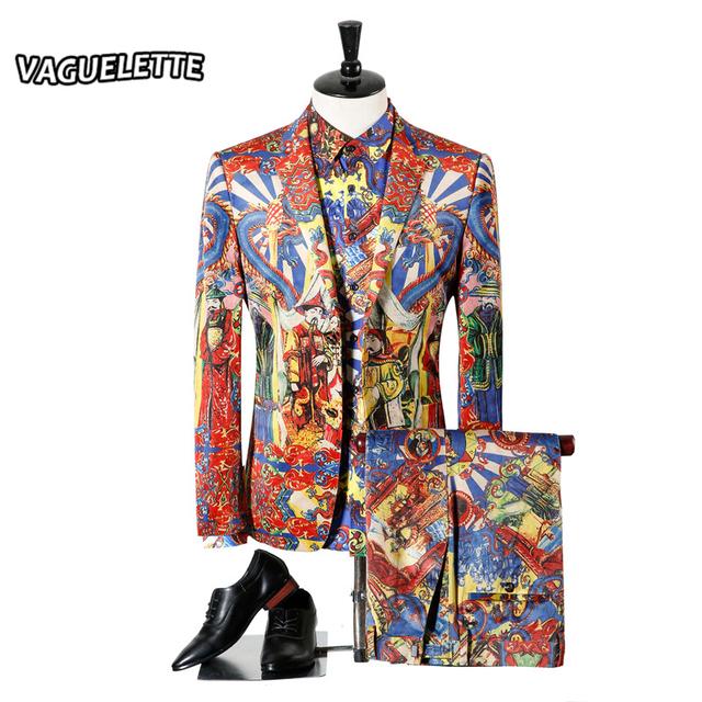 (Blazer + Calça + Camisas) Terno Para Os Homens do vintage 3D Dragão Chinês Moda Estágio Wear Para A Cantora Slim Fit Novidade Dos Homens Magros Terno 3XL