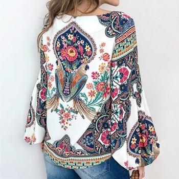 Boho Blouse Floral Print Lantern Sleeve Shirt  1