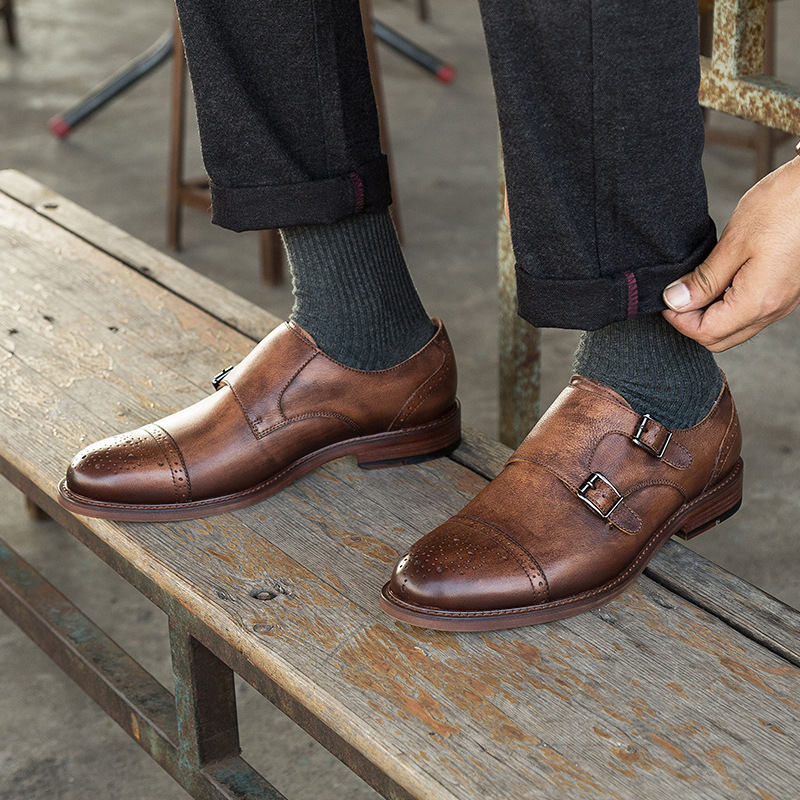 2019 Luxury Mens Dress Shoes Casual Business Brand Wedding Shoes Luxury Italian Casual Formal Double Monk Strap Shoes in Formal Shoes from Shoes