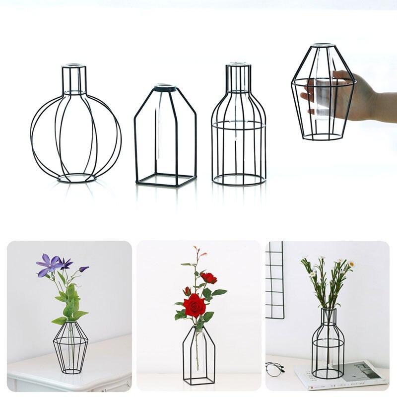 Цветочный горшок подставка для цветов кованая железная ваза гидропонная ваза Геометрическая креативная железная стеклянная