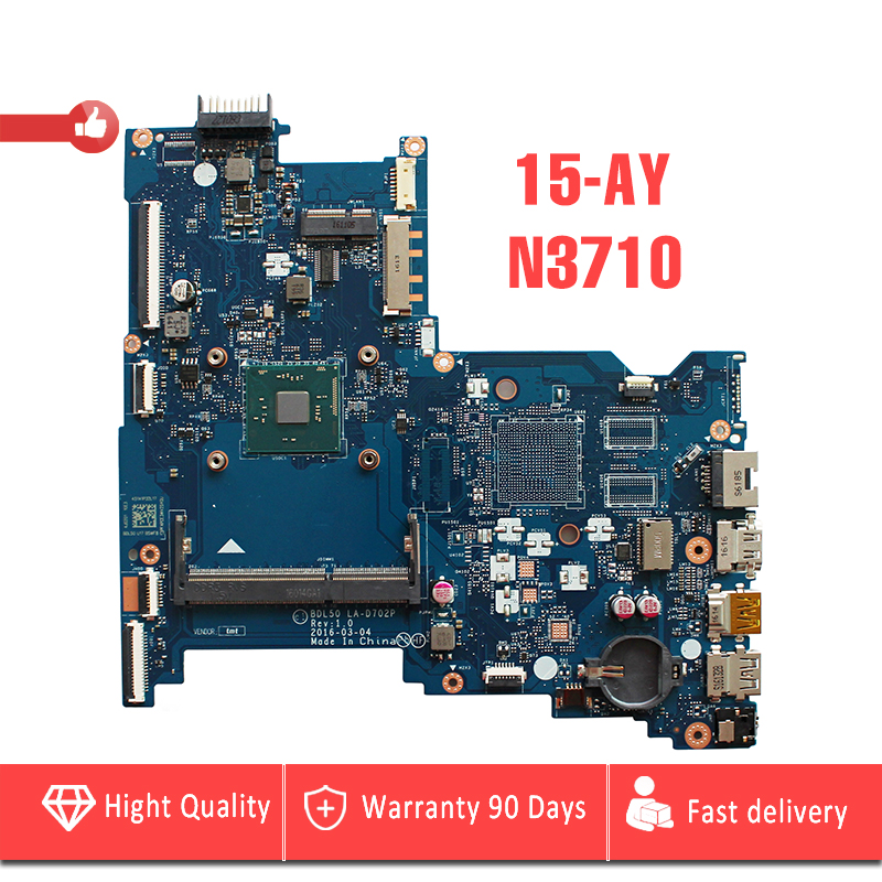 YTAI 860165-601 854943-601 for HP Notebook 15-AY laptop motherboard with N3710 cpu SR2KL BDL50 LA-D702P mainboard Fully Tested
