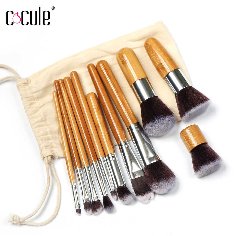 1e9237f6e748c Cocute 11pcs set Bamboo Handle Makeup Brushes Eye Face Powder Blush  Concealer Brushes Cosmetic Kit