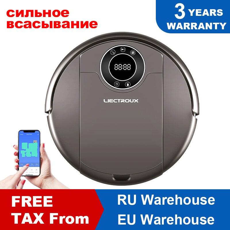 LIECTROUX Roboter Staubsauger ZK808, WiFi App, 3000pa Saug, Karte Navigation, Smart Memory, UV Lampe, Nass Trocken Mopp, Bürstenlosen Motor