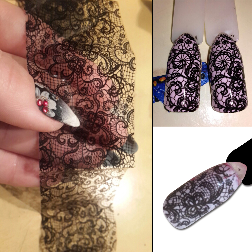 100cmx4cm New 2019 Black Lace Transfer Foil Nail Art Sexy Full Wraps Flower Glue Adhesive DIY Manicure Styling Tools BELB03-in Stickers & Decals from Beauty & Health