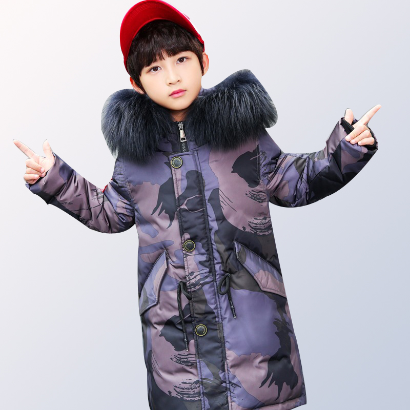2018 boys down jacket long children's jacket jacket warm youth suit winter jacket fur hooded large size 6 8 10 12 14 years