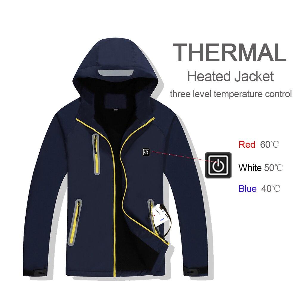 En plein air USB Infrarouge Chauffage Veste D'hiver Chaud Hommes Femmes Électrique Thermique Coupe-Vent Vêtements Pour Sport Randonnée Ski Camping