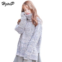 HziriP Casual Large Size Women S Turtleneck With Long Sleeves 2017 Hit Color Knitted Sweater Female