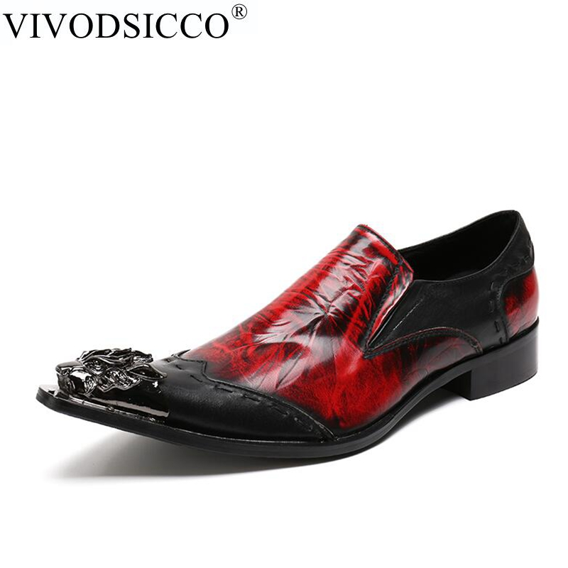 VIVODSICCO Classic Business Men Oxfords Shoes Flat Men Metal Tip Dress Shoes Genuine Leather Slip On Men Red Wedding Party Shoes red patent leather man dress shoes fashion slip on oxfords for men genuine leather punk buckle chain formal party wedding shoes