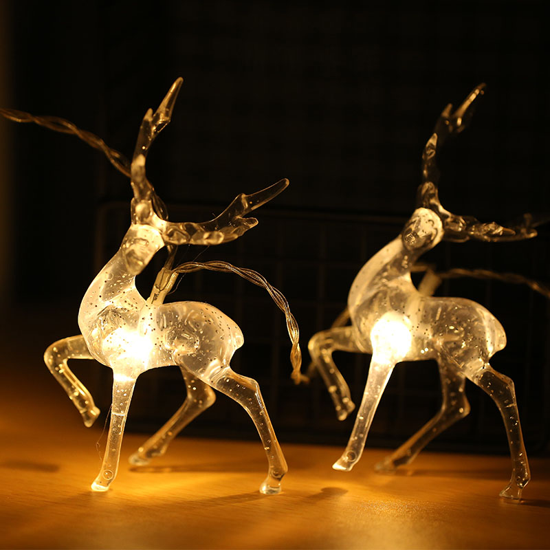 10 Led Transparent Sika Deer Battery USB String Lights 1m Guirlande LED Noel Decoration For Christmas Garland On The Window