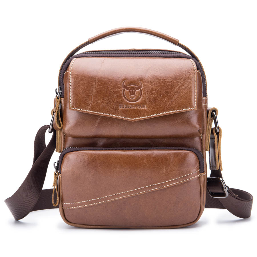 Brand Genuine Leather Casual Handbag Men's Cross Body Shoulder Bag Male Cowhide Messenger Bags Zipper Travel Handle Case Pack brand genuine leather casual small cross body shoulder bag men s messenger bags male cowhide handle pack handbaf for ipad mini