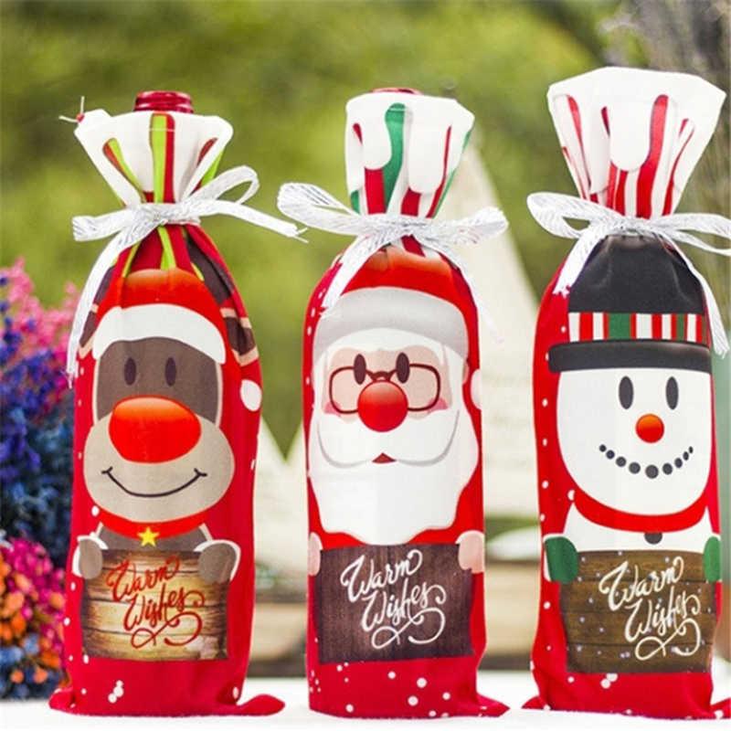 Decoração Da Mesa Jantar Festa De Natal Vinho Tinto Santa árvore Garrafa Capa Sacos Conjuntos Garrafa Decoração Para O Ano Novo Natal Jantar Festa