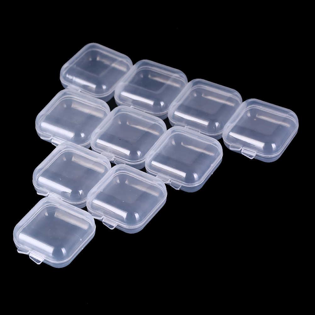 10/20/50 pièces Mini en plastique transparent petite boîte bijoux bouchons d'oreilles boîte de rangement conteneur perle maquillage clair organisateur cadeau