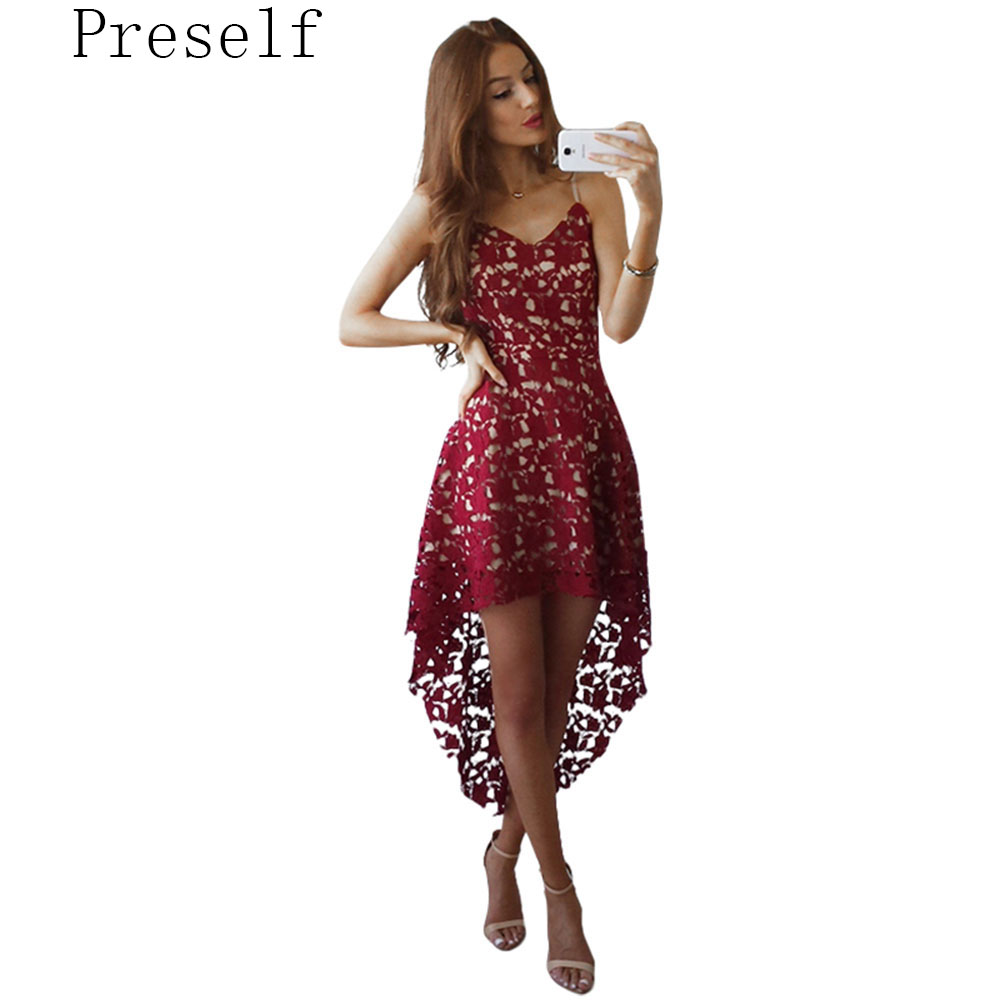 Preself beach lace dress mujeres mini vestidos de cuello v desgaste irregular bo