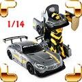 Novo Dom Chegada RS AMG 1/14 2.4G RC Controle Remoto do Robô Transformar a Máquina Elétrica Brinquedos do carro de Carga USB Uma Mudança Chave Presente
