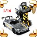 Nuevo Regalo de La Llegada RS AMG 1/14 2.4G RC Robot de Control Remoto Transformar coche Eléctrico Juguetes Máquina de Carga USB Una Tecla de Cambio