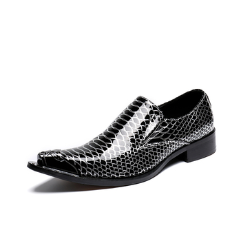 men shoes black business dress shoes Fish scales Leather Men Dress Shoes Black metal toe Wedding  Hairdress Sexy Chain Shoes